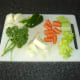 Vegetables chopped in readiness for making stock.