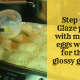 Step 6: Glaze pies with mixed eggs white for that glossy glaze.