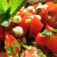 Tomato salad—garnished and ready to serve.