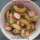 Radish greens salad with avocado and a peach mango dressing.
