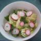 Iceberg lettuce, radish greens, and sliced radish salad.