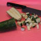 Dice the cucumber into 1/2 inch cubes.