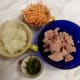 2. Prepare other ingredients by chopping onions and carrots and dicing ham.  If using fresh herbs, then chop them a bit.