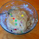 Add flour and M&M's and blend well.