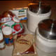 First get all your ingredients together. Apples, cinnamon, butter, sugar, flour, brown sugar, and nutmeg.
