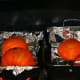 Roast the pumpkins (cut side down) for about an hour at 350 degrees Fahrenheit.