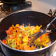 Cut or chop the Nasturtium flowers and place them in a saucepan.
