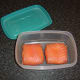Smoked salmon and cream cheese cakes are refrigerated until required
