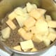 Chopped tattie and neep, added to mince and onion