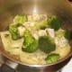Broccoli and Stilton are added to drained tagliatelle