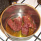 Browning venison in olive oil