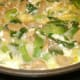 Add egg mixture to veggies. Let set slightly, then scramble lightly.