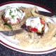Enjoying Mediterranean vegetables stuffed mushrooms with mozzarella and fusilli