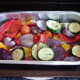 Roasted vegetables are left to cool