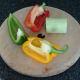 Bell pepper and leek stem portion