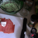 """Spread the filling out on the salmon.  Keep it 1/4"""" away from the edges so it doesn't squeeze out when you roll it."""