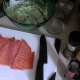 Arrange your smoked salmon pieces to form a solid sheet of salmon.