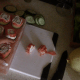 Put 1 salmon piece on top of each cucumber.
