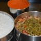 boiled rice, lentil and vegetables, ground spice mix
