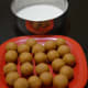 6. These balls are ready to dip in rice flour-maida batter.