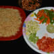 The ingredients for making vermicelli and vegetable upma