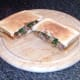 Fish fingers, sardines in tomato sauce and samphire toast sandwich