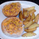 Plated cheesy roll and wedges