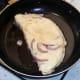Omelette is folded in half