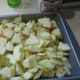 apples in pan, sliced, peeled and cut into small pieces