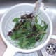 Washing mixed leaf salad