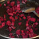 Step five: In the same pan, add 1/2 a teaspoon of butter. Throw in beetroot. Add salt to taste. Saute beetroot cubes sprinkling water little by little until they become soft.