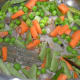 Step four: Add veggies, slit green chilies and some salt. Stir-cook for 3 minutes.