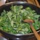 Step three: Throw in fenugreek leaves (methi) and stir-cook.