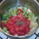 Solid soup ingredients are prepared and added to pot