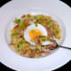 Tucking in to celtuce, chicken and ham fried rice with fried egg