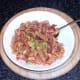 Enjoying chicken and celtuce fusilli pasta