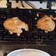 Portion out your cookie batter onto the waffle iron.
