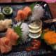 Salmon sashimi with Kuchi's delicious fresh wasabi.