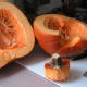 Remove the stem and cut the gourd in half, lengthwise using a sharp knife.