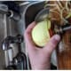 remove apple, core stays on prongs