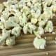 Divide the cauliflower florets into bite-sized pieces.