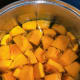 Cut the pumpkin into chunks and throw them into a pot filled with water.