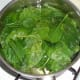 Baby spinach leaves are wilted in boiling salted water
