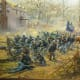 The Bayonet or Retreat. In this painting by present-day artist Andy Thomas, Federal infantry prepare to retreat down the slope after their second assault failed to dislodge Hindman's Confederates from their position around the Borden House.