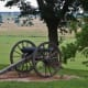 """Confederate cannon facing the Union advance on the field below the ridge of Confederate defenses.  """"Crawford's Prairie"""""""