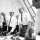 Von Braun celebrates with Apollo 11 mission officials after Apollo 11 liftoff July 16,1969