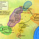 A map of De Soto's trek through Alabama which led him toward the battle at Mabila.