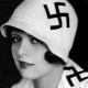 The silent screen star Clara Bow modelled this curious fashion statement in the 1920s, sporting the swastika not as a Nazi symbol, but as a 'good luck' symbol