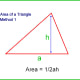 Area of a triangle equals half the base length multiplied by the perpendicular height.