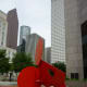 One view of the Geometric Mouse X sculpture by Claes Oldenburg